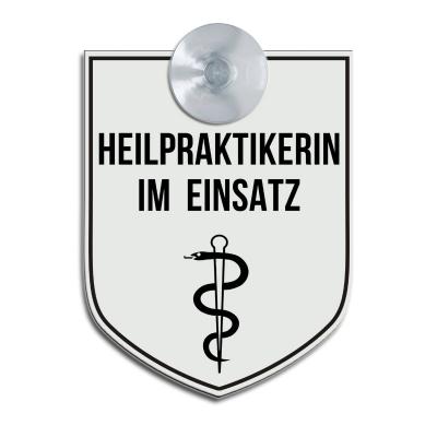 Heilpraktikerin im Einsatz - Hinweisschild für Fahrzeuge
