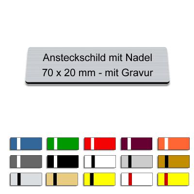 Ansteckschild mit Nadel und Gravur, 70x20mm