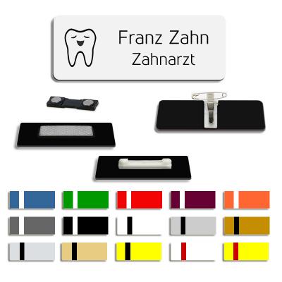 Zahn - Ansteckschild mit Motiv und Wunschnamen