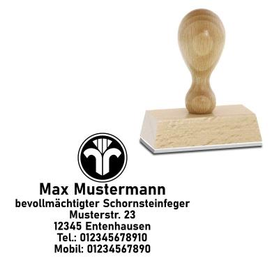 Schornsteinfeger, Holzstempel mit Symbol und Wunschtext - 50x35mm