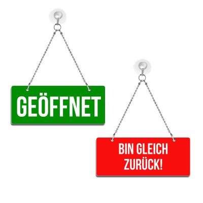 Geöffnet / Bin gleich zurück! - Graviertes Wendeschild in Druckschrift - rot/grün