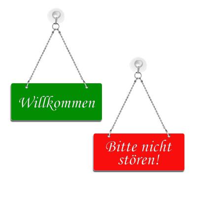 Willkommen / Bitte nicht stören! - Graviertes Wendeschild - rot/grün