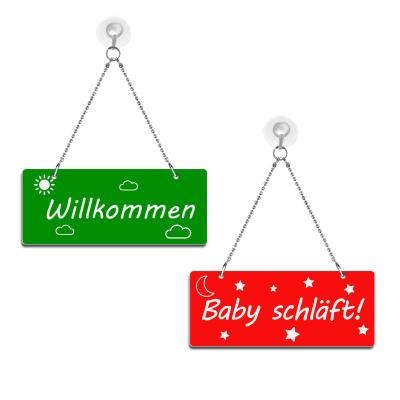 Willkommen / Baby schläft! - Graviertes Wendeschild - rot/grün
