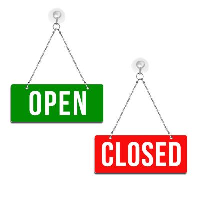 Open / Closed - Graviertes Wendeschild - rot/grün