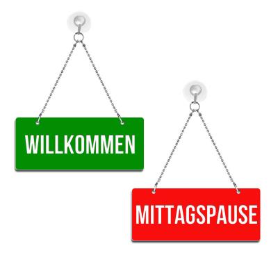 Willkommen / Mittagspause - Graviertes Wendeschild - rot/grün