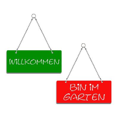 Willkommen / Bin im Garten - Graviertes Wendeschild - rot/grün