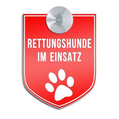 Rettungshunde im Einsatz - Saugnapfschild für Fahrzeuge